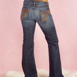 7 For All Mankind Orange Stitch Dojo Jeans 29